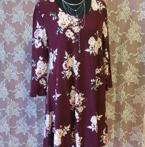 Long sleeve maroon dress